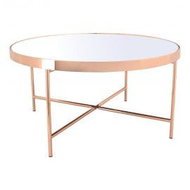 Romina - Copper Coffee Table with Mirror Top - Big