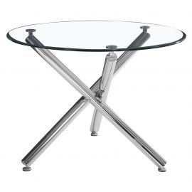 "Lincoln Ii Dining Table,42""Dia.(2 Part) - Chrome"