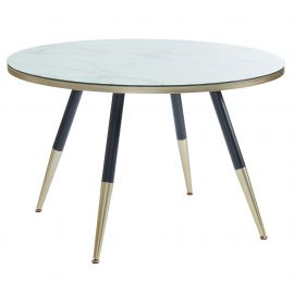 Axel Glass Dining Table - White