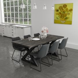 Phoebe/Arianna 7Pc Dining Set - Black Table/Vintage Charcoal Chair