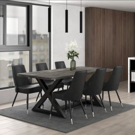 Phoebe/Liam 7Pc Dining Set - Black Table/Grey Chair