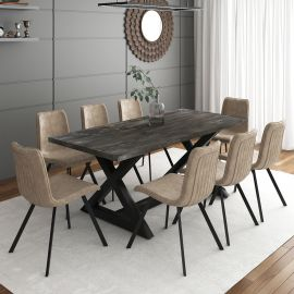 Phoebe/Archer 9Pc Dining Set - Black Table/Vintage Brown Chair