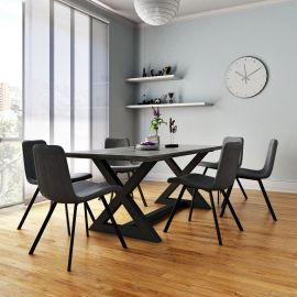 Phoebe/Archer 7Pc Dining Set - Black Table/Vintage Grey Chair