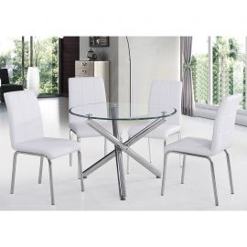 "Lincoln Ii 5Pc 40"" Dining Set - Chrome Table/White Chair"