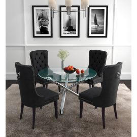 Lincoln Ii/Justin 5Pc Dining Set - Chrome Table/Black Chair