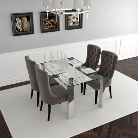 Daisy/Justin 5Pc Dining Set - Chrome Table/Grey Chair