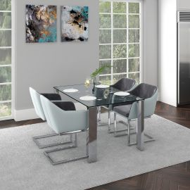 Daisy/Henry 5Pc Dining Set - Chrome Table/Grey Chair