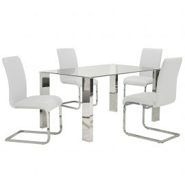Daisy/Gracie 5Pc Dining Set - Chrome Table/White Chair