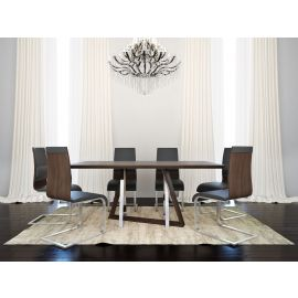 Brianna/Natalie 7Pc Dining Set - Walnut Table/Walnut Chair
