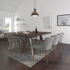 Brianna/Anna 7Pc Dining Set - Walnut Table/Walnut & Grey Chair