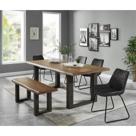 Colton/Arianna 6Pc Dining Set - Dark Oak Table/Vintage Charcoal Chair