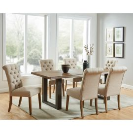 Colton/Grayson 7Pc Dining Set - Dark Oak Table/Beige Chair
