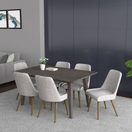 Alexis/Hailey 7Pc Dining Set - Grey Table/Grey & Light Grey Chair