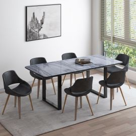 Daphne/Landon 7Pc Dining Set - Black Table/Charcoal Chair