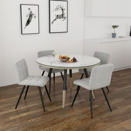 Axel/Madeline 5Pc Dining Set - White Table/Grey Chair
