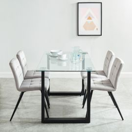 Dahlia/Madeline Gy - 5Pc Dining Set - Black Table/Grey Chair