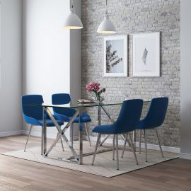 Finn/Astrid 5Pc Dining Set - Chrome Table/Blue Chair