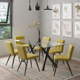 Lucy/Madeline 7Pc Dining Set - Black Table/Mustard Chair