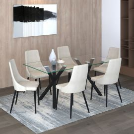 Lucy/Nathan 7Pc Dining Set - Black Table/Beige Chair