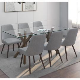 Skyla 7 Pcs. Dining Set In Dark Grey