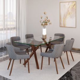 Lucy/Anna 7Pc Dining Set - Walnut Table/Walnut & Grey Chair