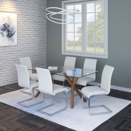 Lucy/Gracie 7Pc Dining Set - Walnut Table/White Chair