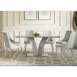 Nicole Digby 7 Pcs. Dining Set In Light Grey