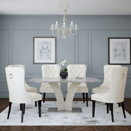 Isaac/Justin 7Pc Dining Set - Grey Table/Ivory Chair