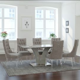 Isaac/Atlas 7Pc Dining Set - Grey Table/Grey Chair