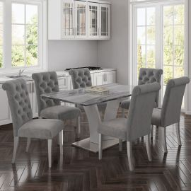 Isaac/Aubrey 7Pc Dining Set - Grey Table/Grey Chair