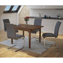 Angel/Gracie 5Pc Dining Set - Walnut Table/Grey Chair