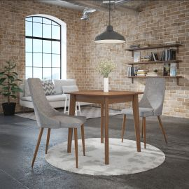 Adalyn/Avery 3Pc Dining Set - Walnut Table/Grey Chair