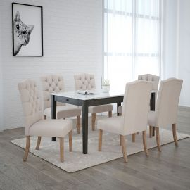 Jose/Freya 7Pc Dining Set - Grey Table/Beige Chair
