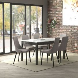 Jose/Nathan 7Pc Dining Set - Grey Table/Grey Chair