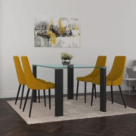 Nathaniel/Nathan 5Pc Dining Set - Black Table/Mustard Chair