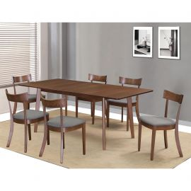 Adelaide/Jasper Rectangular 7Pc Dining Set - Walnut Table/Grey Chair
