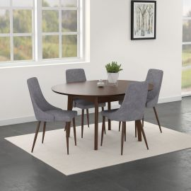 Adelaide/Avery Round 5Pc Dining Set - Walnut Table/Grey Chair