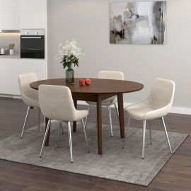 Adelaide/Astrid Round 5Pc Dining Set - Walnut Table/Ivory Chair
