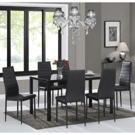 Autumn 7Pc Dining Set - Black Table/Black Chair