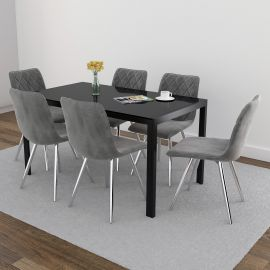 Autumn/Gianna 7Pc Dining Set - Black Table/Grey Chair