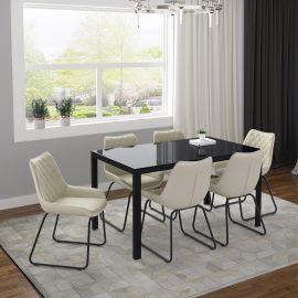 Autumn/Arianna 7Pc Dining Set - Black Table/Vintage Ivory Chair