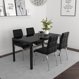 Autumn/Lincoln 5Pc Dining Set - Black Table/Black Chair