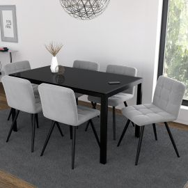 Autumn/Madeline 7Pc Dining Set - Black Table/Grey Chair