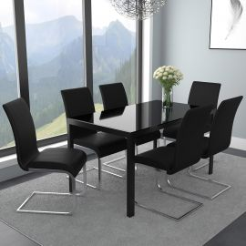 Autumn/Gracie 7Pc Dining Set - Black Table/Black Chair