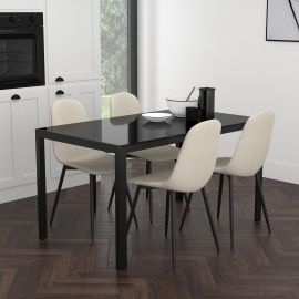 Autumn/James 5Pc Dining Set - Black Table/Beige Chair