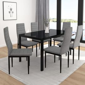Autumn 7Pc Dining Set - Black Table/Grey Chair