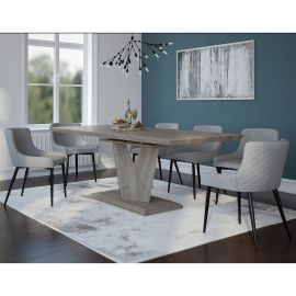 Brooke/Anna 7Pc Dining Set - Oak Table/Black & Grey Chair