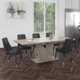 Brooke/Liam 7Pc Dining Set - Oak Table/Grey Chair