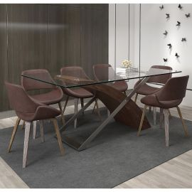 Vibrota Sonny 7 Pcs. Dining Set In Brown