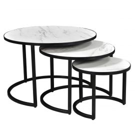 Dexter Coffee Table Set In White Marble